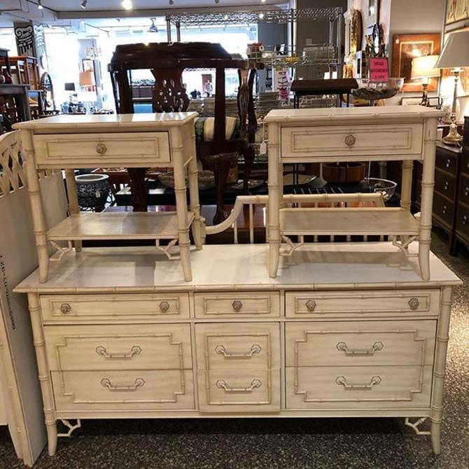 Gorgeous 9 drawer faux bamboo dresser $550. Nightstands $150 each!