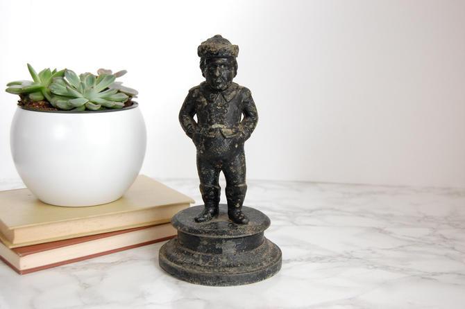 Antique Cast Iron Statue - Metal Man Figurine - Antique Door Stop Bookend by PursuingVintage1