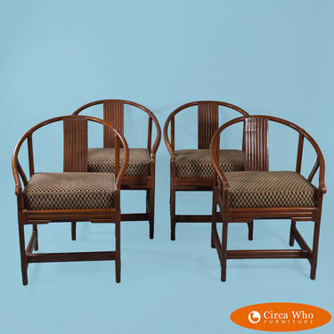 Set of 4 Horsesshoe Rattan Chairs by Ficks Reed