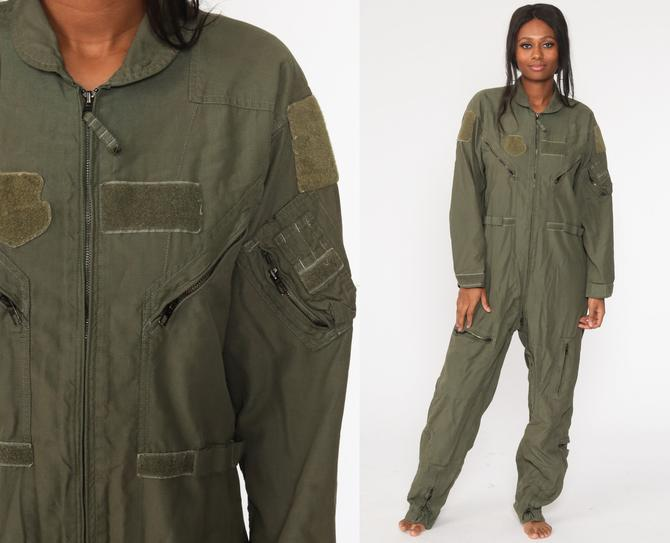Flight Suit 42 L Military Jumpsuit Army Coveralls Zip Up Grunge Pantsuit Aramid Vintage Long Sleeve Romper Olive Green Medium Large by ShopExile