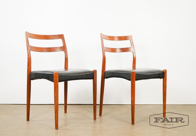 Pair of Danish teak dining chairs by Uldum