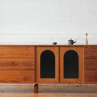 Restored Assymetrical Mid Century Modern Walnut Triple Dresser by NijiFurnishing