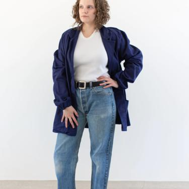 Vintage Dark Rich Blue Chore Coat   Navy Unisex Cotton Military Utility Work Jacket   Made in Italy   XL   IT181 by RAWSONSTUDIO