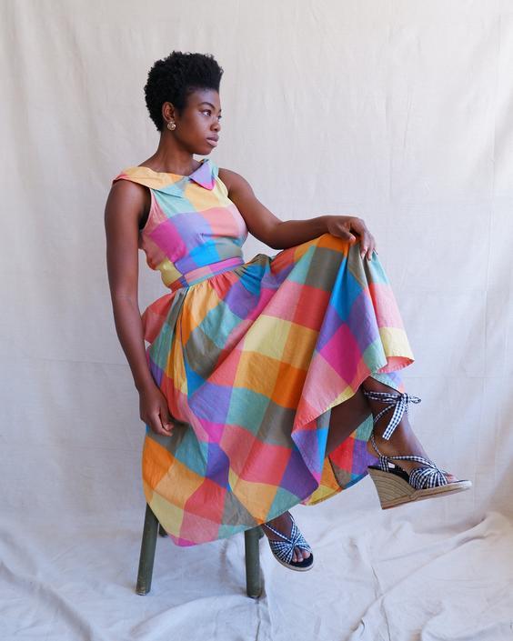 Vintage 80s Rainbow Check Cotton Sundress/ 1980s Sleeveless Colorblock Madras Summer Dress/ Full Skirt/ Size Medium by bottleofbread