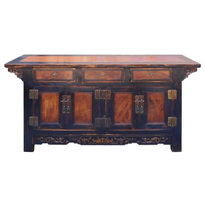 Chinese Black Brown Tone Console Sideboard TV Cabinet cs1970S