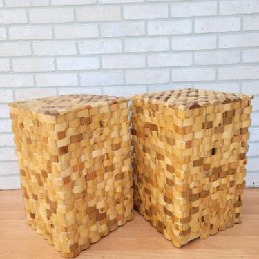 Rustic Recycled Stacked Teak Wood Tower Side Tables - Set of 2