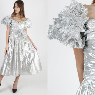 Vintage 80s Silver Metallic Dress Avant Garde Holiday Dress Off Shoulder Puff Sleeve Ruched Bodice Cocktail Prom Party Midi Maxi Dress by americanarchive