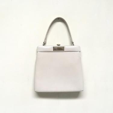 Vintage 1950s Genuine Calf Leather Handbag, Bone Beige Mid-Century Top Handle Purse by RanchQueenVintage