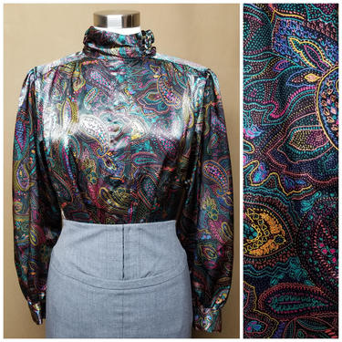 Vintage 80s Satin Paisley Blouse ~ Electric Jewel Tone ~ Silky Shiny Satin ~ Wide Sleeve ~ Ruched Collar ~ Pinup Secretary Blouse ~ Medium by SoughtClothier