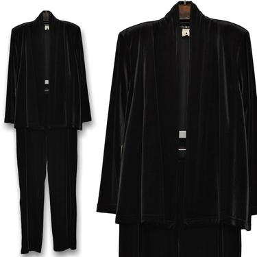 Vintage Stretchy Black Velvet Two Piece Pants Suit Women's Size by TheUnapologeticSoul