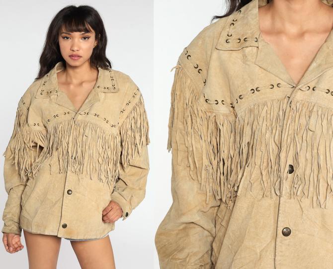 Suede Fringe Jacket 90s Tan Leather Jacket SOUTHWESTERN Boho 1990s Vintage Western Blazer Bohemian Hippie Oversized Men's Medium by ShopExile