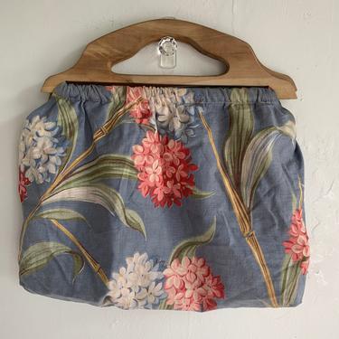 Charming 1940s Hydrangea Print Knitting Bag Vintage Purse Tote by AmalgamatedShop