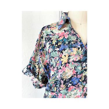Black Floral button Shirt Women's, short sleeve button up floral, Vintage Button Up, Size L by DudaVintage