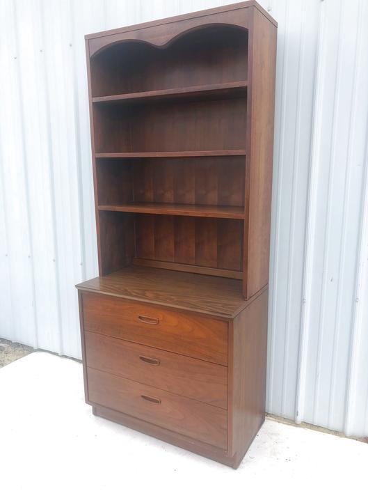 Mid Century Three Drawer Dresser with Shelving