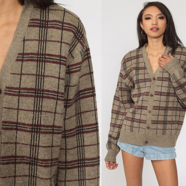 Plaid Cardigan Sweater -- 80s Taupe Cardigan Wool Blend Knit Button Up 1980s Vintage Nerd Oversized Checkered Print Medium Large by ShopExile