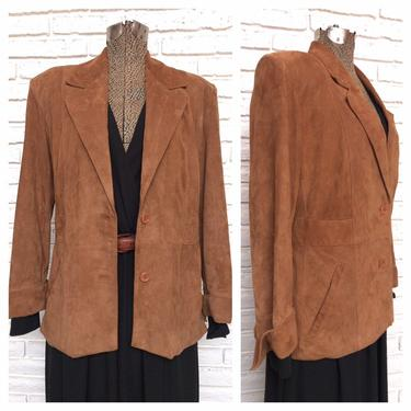 Vintage Tan Suede Womens  Blazer Jacket Size M/L Made in Italy Brown Neutral Leather Jacket by TheUnapologeticSoul