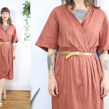 Vintage 90's Terra Cotta Linen Dress / 1990's Linen Wrap Dress / Women's Size Medium - Large by RubyThreadsVintage