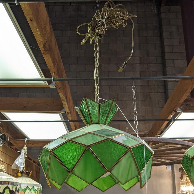 Slag Glass Plug-In Pendant Light