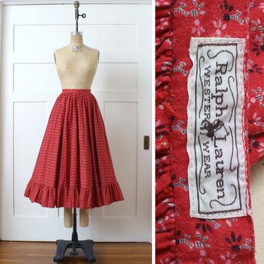 vintage 1980s Ralph Lauren western wear skirt • cotton flannel prairie country skirt • full cut red calico with pockets by LivingThreadsVintage