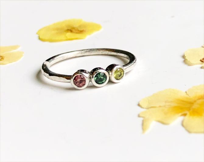 Three Stone Birthstone Mother's Ring tourmaline sterling silver by RachelPfefferDesigns