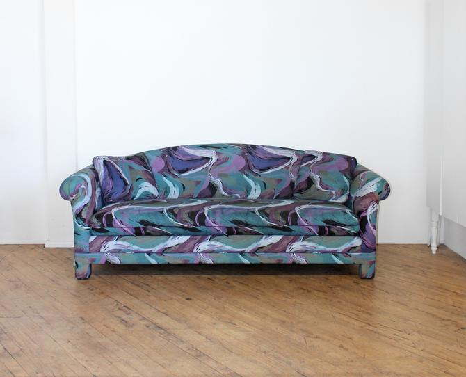 80s Postmodern Sofa Abstract Matisse Memphis Wavy Furniture Rainbow Colorful by 330Modern