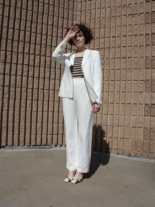 Louis Féraud Scalloped Linen Suit