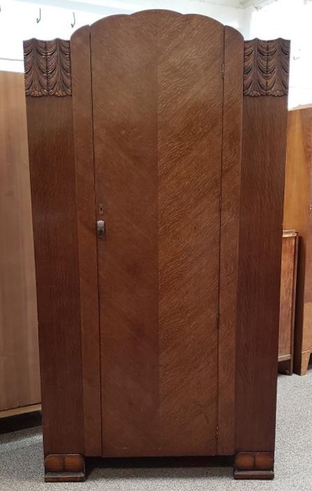 Item #R313 Single Door English Oak Robe c.1940s