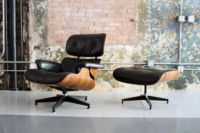Vintage 1960's Eames Lounge Chair and Ottoman in Rosewood