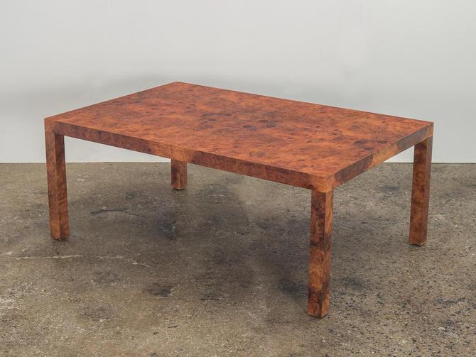 Milo Baughman Burl Wood Coffee Table by openairmodern