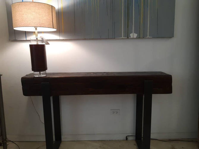 Vintage industrial salvaged beam console table by StateStreetSalvage