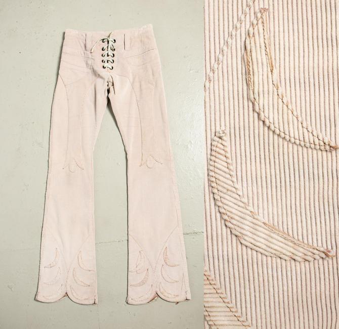 1990s Pants Cord Flares Low Rise Handmade Henry DUARTE XS by dejavintageboutique