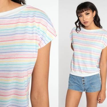 Striped Rainbow Top 80s Shirt Striped Blouse Slouch Short Sleeve Shirt Slouchy 1980s Vintage Retro Ringer Tee Medium by ShopExile