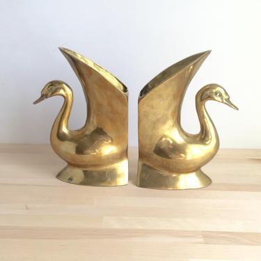 Brass Swan Planter Bookends by Northforkvintageshop