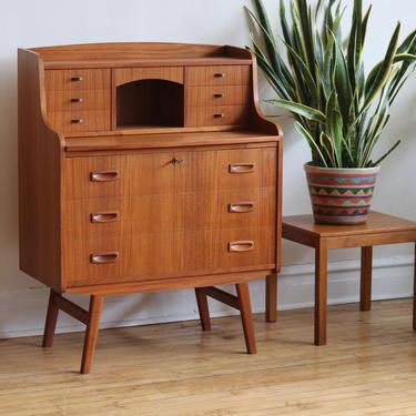 Mid Century Danish Modern Splayed Leg Secretary Desk by SharkGravy