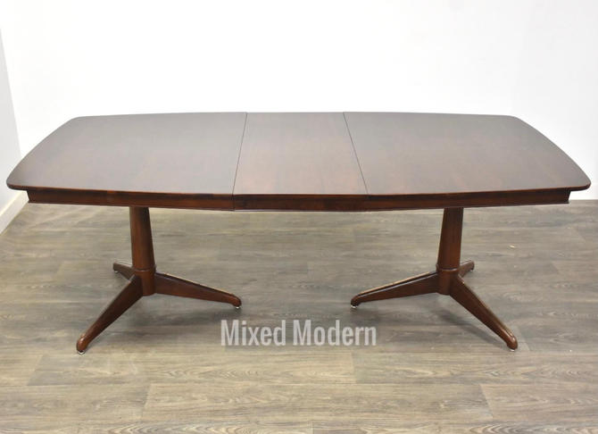 Walnut Expandable Pedestal Dining Table by mixedmodern1