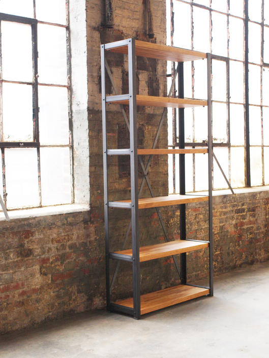 Cherry Engineers Industrial Bookcase Shelf Shelving Vintage bookshelve by CamposIronWorks