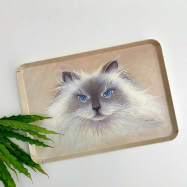 Keller Charles Melamine Serving Tray, White Persian Cat with Blue Eyes, Large Plastic Rectangular Tray Made in Italy, Signed by Artist Dory by PebbleCreekGoods