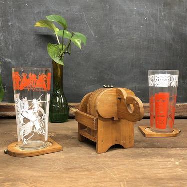 Vintage Coaster Set Retro 1960s Elephant Drink Coaster Set + Carved Brown Wood Caddie + 7 Piece + Cork + Wood+ Metal + Twine Detail + Decor by RetrospectVintage215