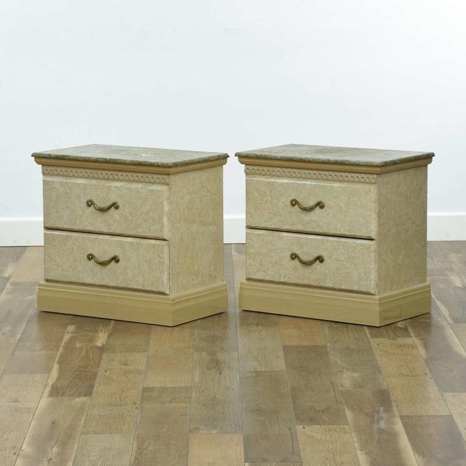 Pair Good Companies Neoclassical Marble-Look Nightstand
