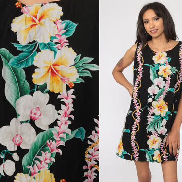 Black Hawaiian Dress Floral Dress Tropical Mini 80s Hibiscus Surfer Dress Sundress 1980s Surf Vintage Sleeveless Summer Shift Petite Large by ShopExile