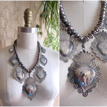 FEDERICO JIMENEZ Sacred Heart Silver Necklace | Mexican Large Statement Milagro Jewelry | Oaxaca Mexico, Frida Kahlo Style Jewelry Folk Boho by lovestreetsf