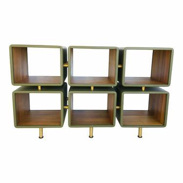 Jamie Durie for Baker Mid-Century Modern Style Ceylon Green Leather Open Jetson Shelves