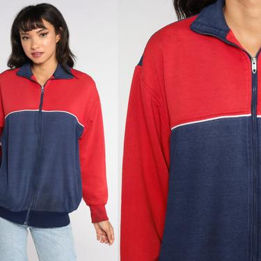 Zip Up Sweatshirt LL Bean Track Jacket 80s Color Black Jacket Dark Blue Red Warmup 1980s Warm Up Athletic Sports Vintage Medium Large by ShopExile