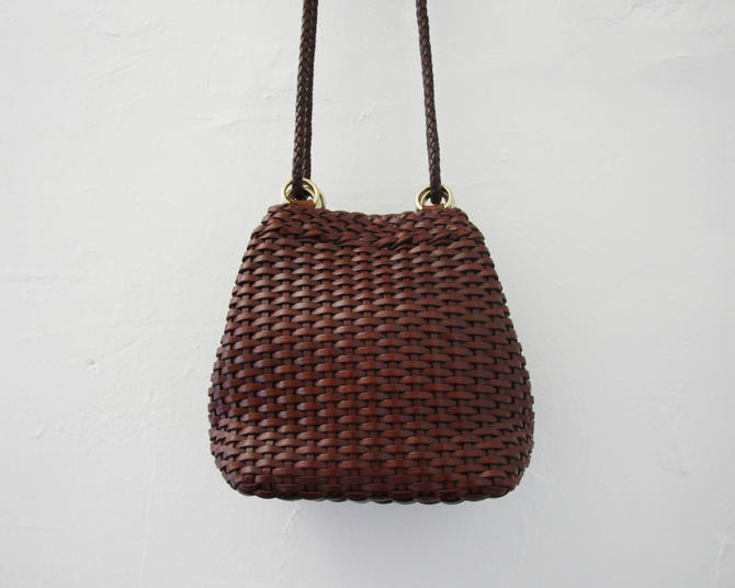 Vintage Brown Woven Leather Crossbody Shoulder Bag Cole Haan Made In Italy