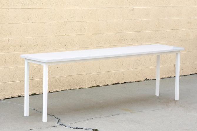 Tanker Inspired Steel Console Table in Gloss White, Custom
