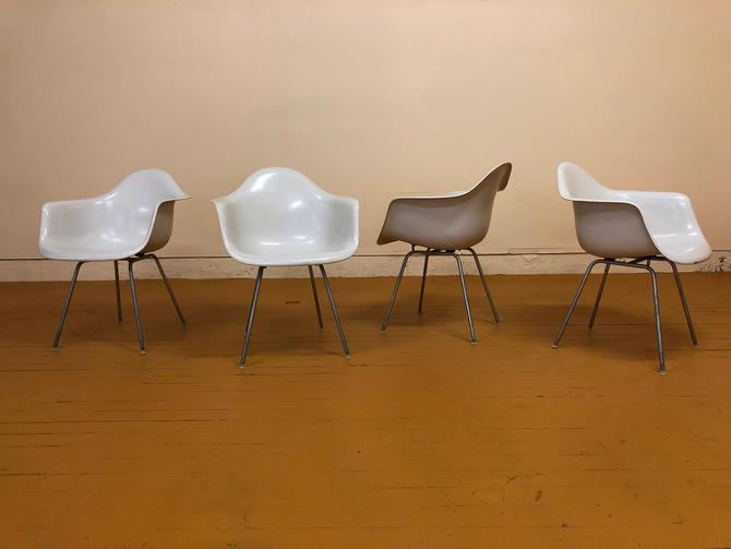 Ray and Charles Eames White Fiberglass H Base Arm Chairs - Set of 4 by Vintagefurnitureetc