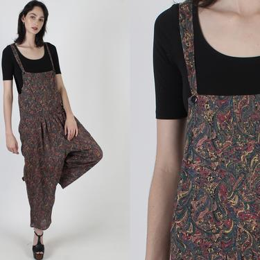 90s India Paisley Grunge Jumpsuit / Coveralls Bodice Suspender Playsuit / Wide Leg Palazzo Pants / Vintage 1990s One Piece Overalls by americanarchive