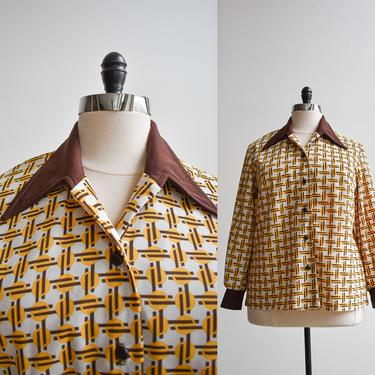 1970s Plus Sized Polyester Trippy Blouse by milkandice