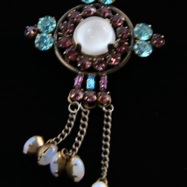 Vintage Moonstone Brooch Pin Sterling Silver with Opals, Purple and Aqua Rhinestones / Deco Style Jewelry by HouseofVintageOnline