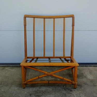 Vintage Low Wood Rattan Style Armless Lounge Chair by ModandOzzie